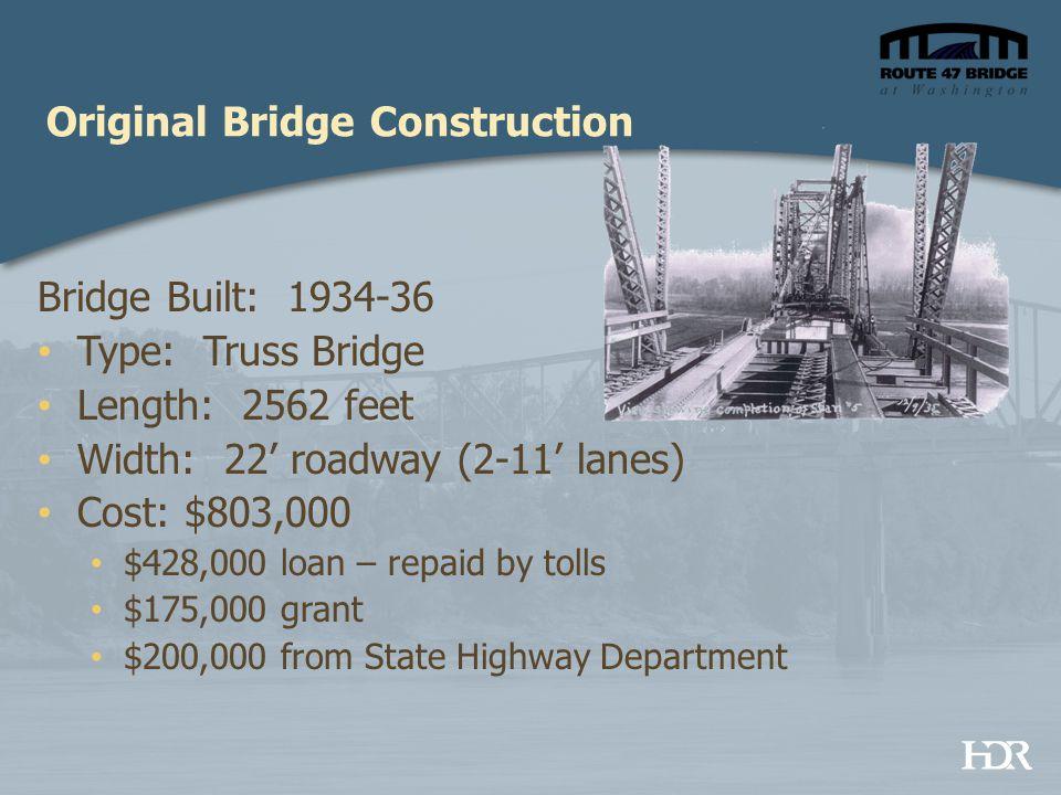 Original Bridge Construction Bridge Built: 1934-36 Type: Truss Bridge Length: 2562 feet Width: 22' roadway (2-11' lanes) Cost: $803,000 $428,000 loan – repaid by tolls $175,000 grant $200,000 from State Highway Department
