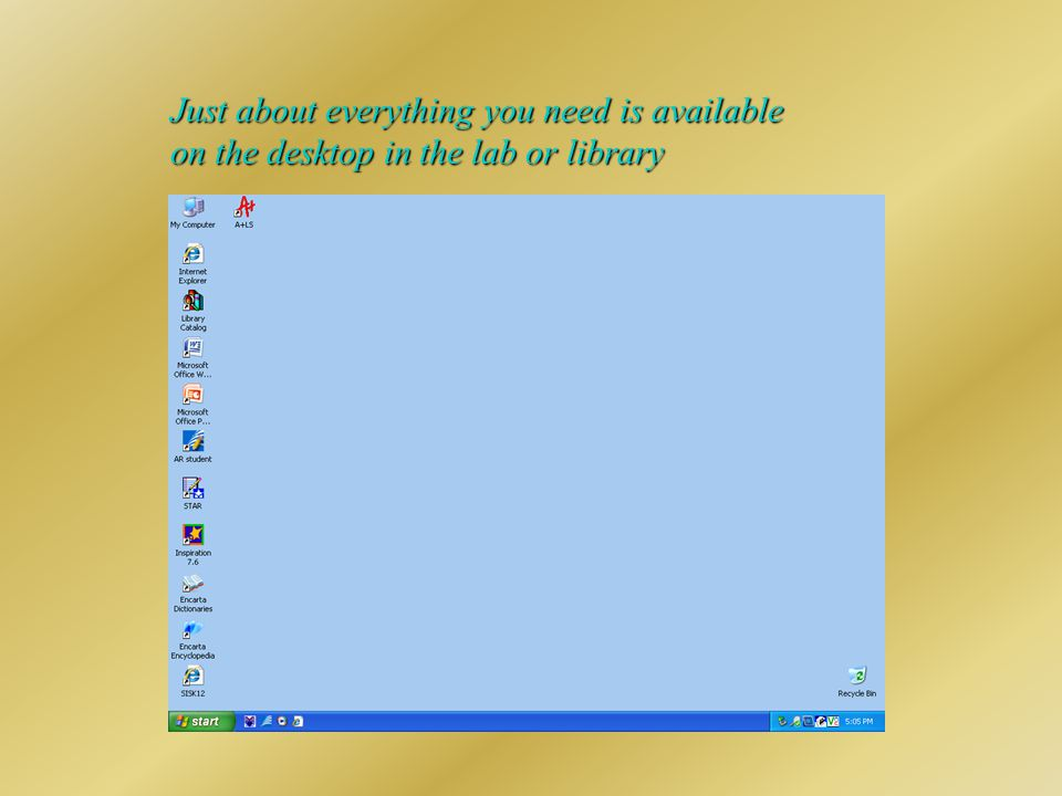 Just about everything you need is available on the desktop in the lab or library