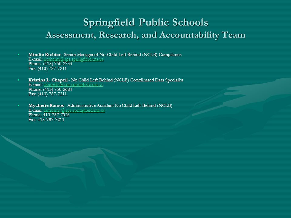 Springfield Public Schools Assessment, Research, and Accountability Team Mindie Richter - Senior Manager of No Child Left Behind (NCLB) Compliance E-m