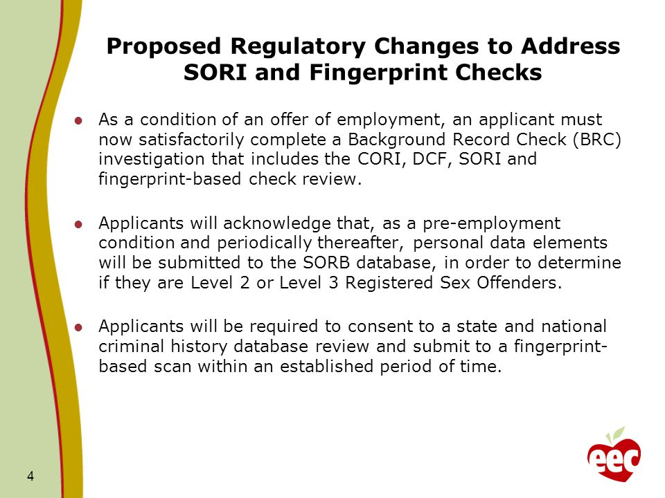 Proposed Regulatory Changes to Address SORI and Fingerprint Checks As a condition of an offer of employment, an applicant must now satisfactorily complete a Background Record Check (BRC) investigation that includes the CORI, DCF, SORI and fingerprint-based check review.