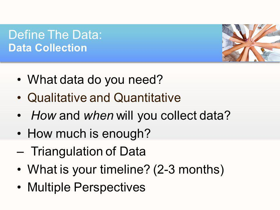 What data do you need? Qualitative and Quantitative How and when will you collect data? How much is enough? –Triangulation of Data What is your timeli
