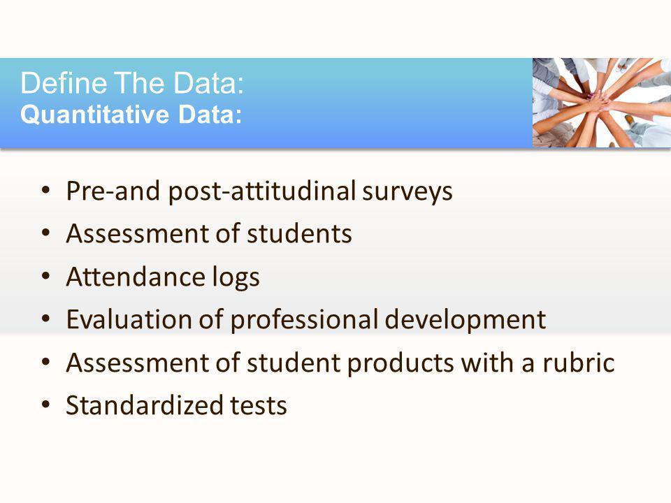 Pre-and post-attitudinal surveys Assessment of students Attendance logs Evaluation of professional development Assessment of student products with a rubric Standardized tests Define The Data: Quantitative Data: