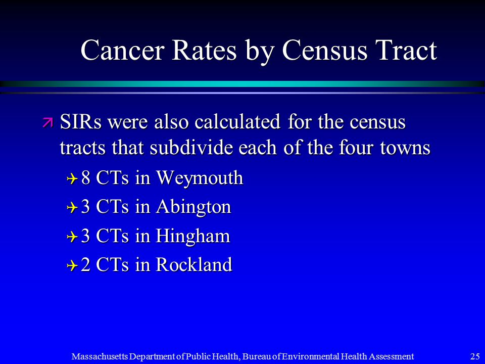 Massachusetts Department of Public Health, Bureau of Environmental Health Assessment 25 Cancer Rates by Census Tract ä SIRs were also calculated for the census tracts that subdivide each of the four towns Q 8 CTs in Weymouth Q 3 CTs in Abington Q 3 CTs in Hingham Q 2 CTs in Rockland