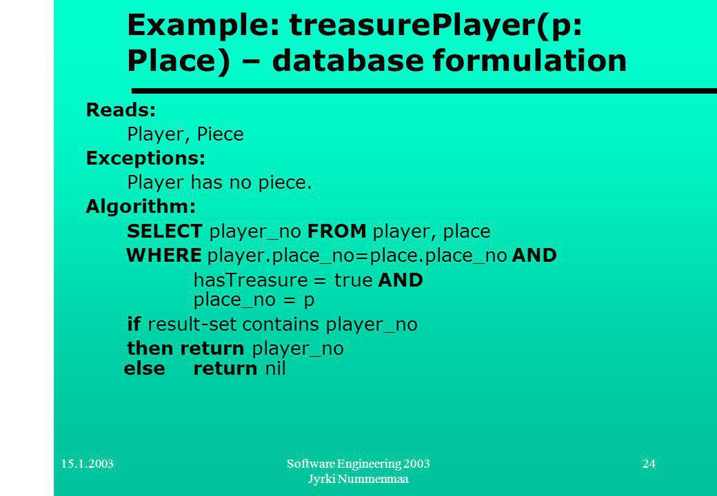 Software Engineering 2003 Jyrki Nummenmaa 24 Example: treasurePlayer(p: Place) – database formulation Reads: Player, Piece Exceptions: Player has no piece.