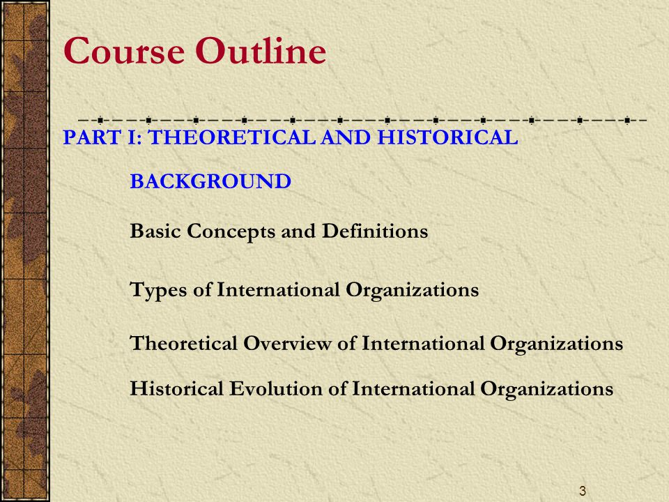 4 Course Outline PART II: THE FUNCTIONING OF INTERNATIONAL ORGANIZATIONS The United Nations North Atlantic Treaty Organization The European Union World Trade Organization International Monetary Fund and the World Bank