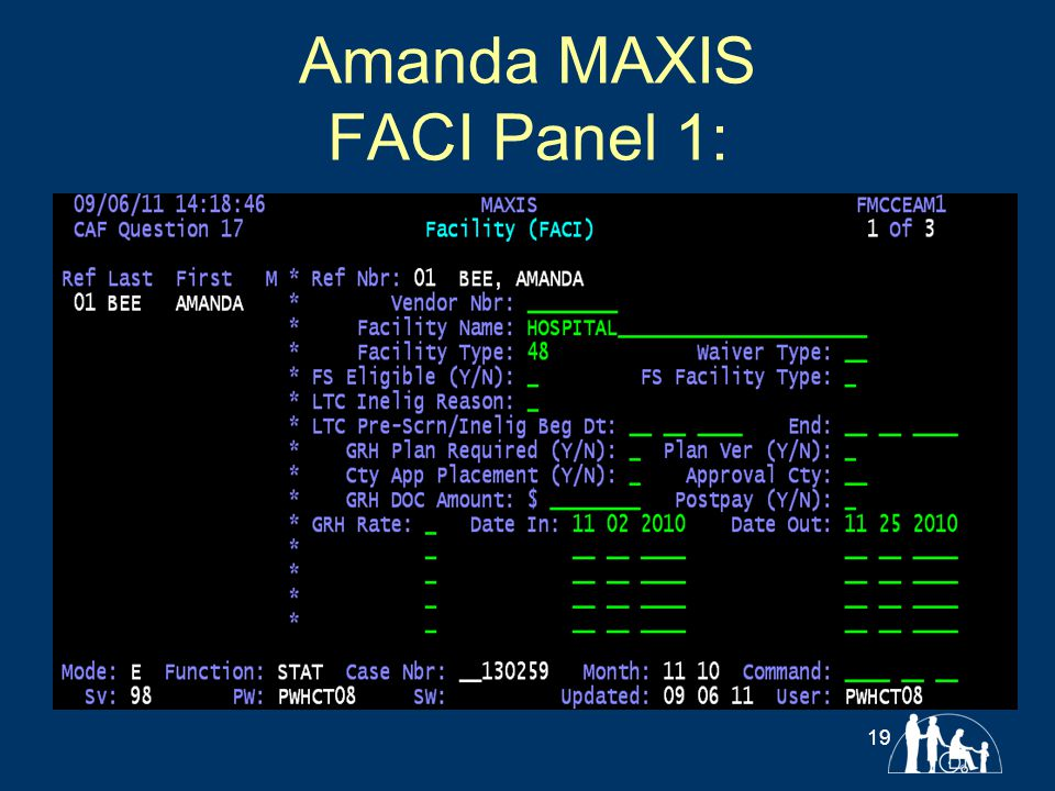 Amanda MAXIS FACI Panel 1: 19