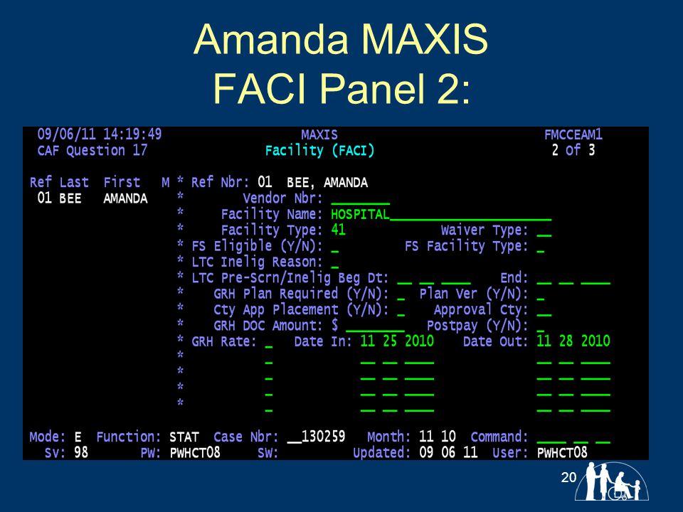 Amanda MAXIS FACI Panel 2: 20