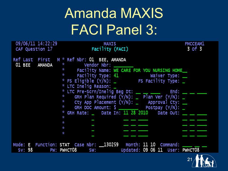 Amanda MAXIS FACI Panel 3: 21