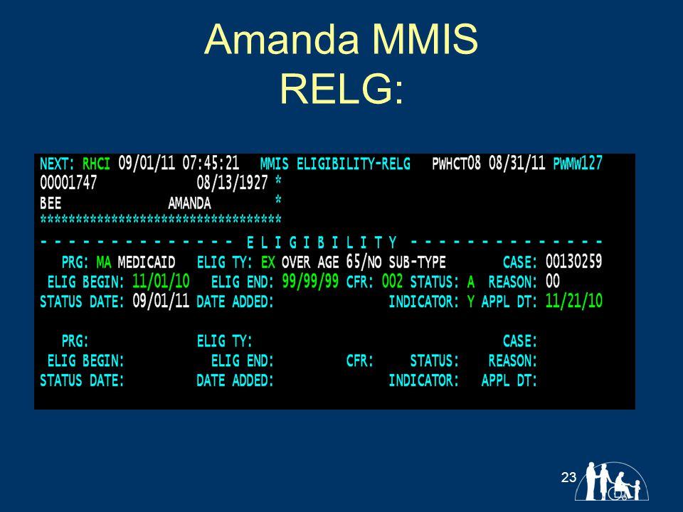 Amanda MMIS RELG: 23