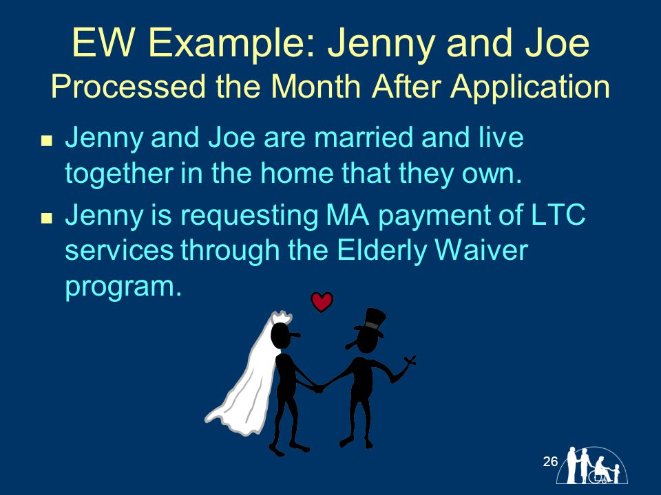 EW Example: Jenny and Joe Processed the Month After Application Jenny and Joe are married and live together in the home that they own. Jenny is reques