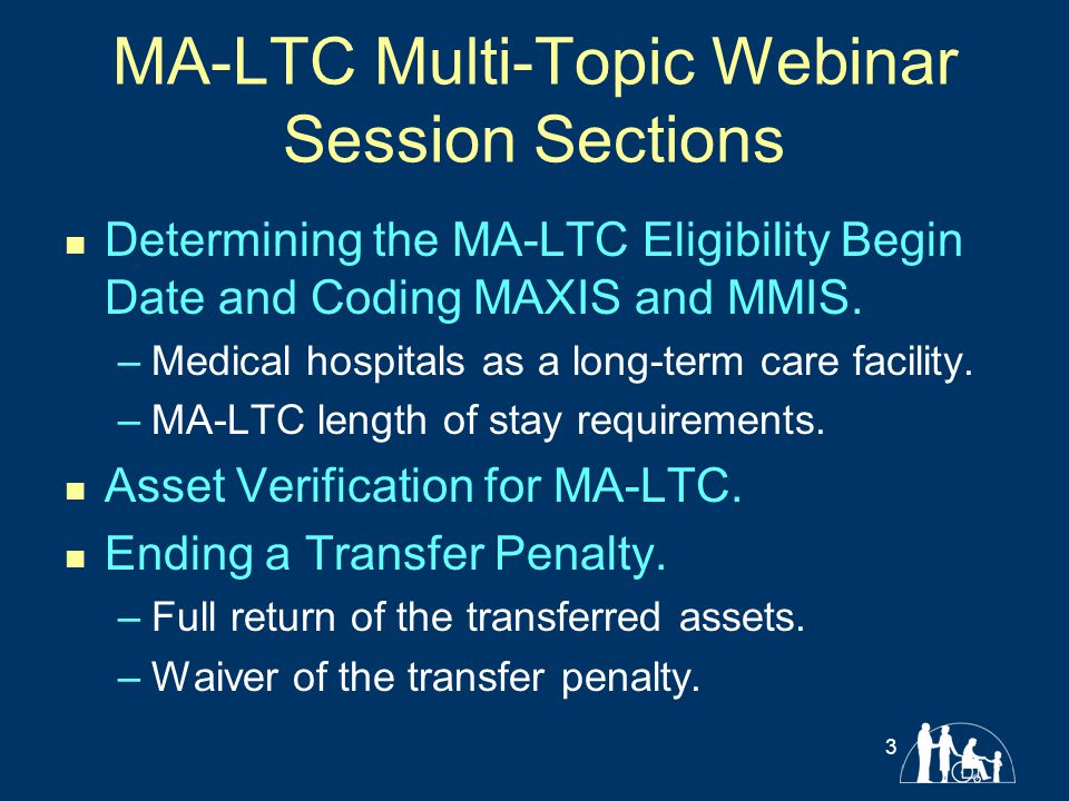 MA-LTC Multi-Topic Webinar Session Sections Determining the MA-LTC Eligibility Begin Date and Coding MAXIS and MMIS. –Medical hospitals as a long-term