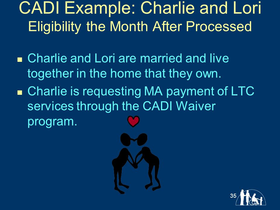 CADI Example: Charlie and Lori Eligibility the Month After Processed Charlie and Lori are married and live together in the home that they own. Charlie