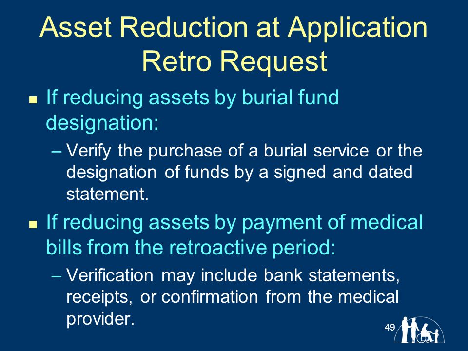 Asset Reduction at Application Retro Request If reducing assets by burial fund designation: –Verify the purchase of a burial service or the designatio