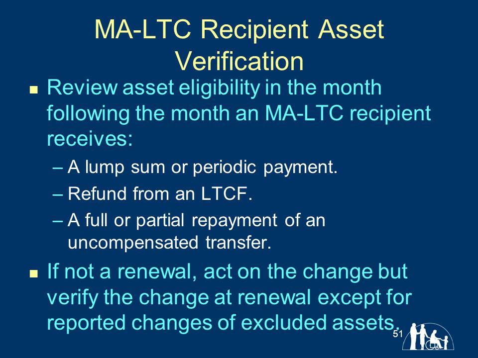 MA-LTC Recipient Asset Verification Review asset eligibility in the month following the month an MA-LTC recipient receives: –A lump sum or periodic pa