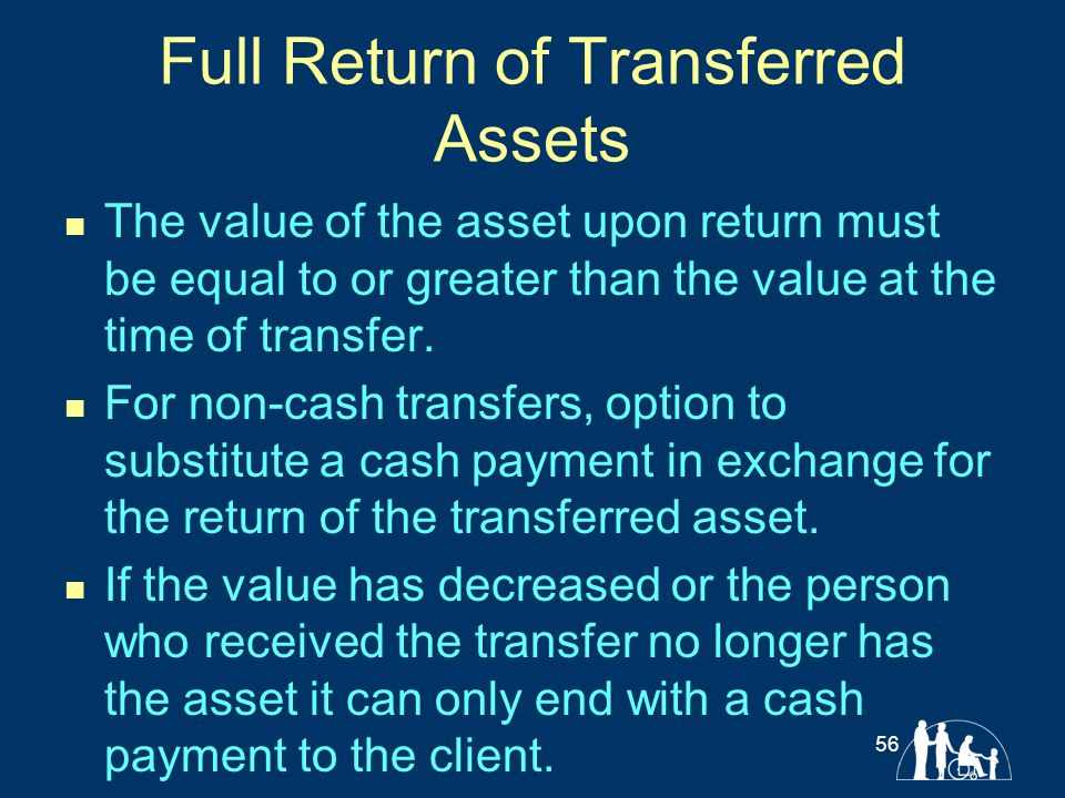 Full Return of Transferred Assets The value of the asset upon return must be equal to or greater than the value at the time of transfer. For non-cash