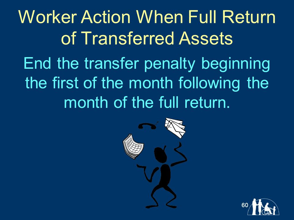 Worker Action When Full Return of Transferred Assets End the transfer penalty beginning the first of the month following the month of the full return.