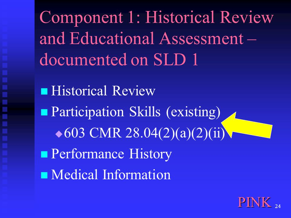 24 Component 1: Historical Review and Educational Assessment – documented on SLD 1 Historical Review Participation Skills (existing)  603 CMR 28.04(2