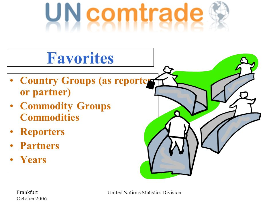 Frankfurt October 2006 United Nations Statistics Division Favorites Country Groups (as reporter or partner) Commodity Groups Commodities Reporters Partners Years