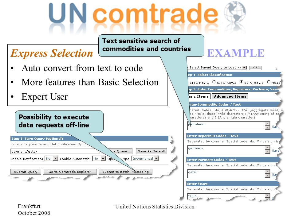 Frankfurt October 2006 United Nations Statistics Division Express Selection Auto convert from text to code More features than Basic Selection Expert User EXAMPLE Text sensitive search of commodities and countries Possibility to execute data requests off-line