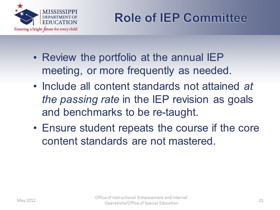 Review the portfolio at the annual IEP meeting, or more frequently as needed. Include all content standards not attained at the passing rate in the IE