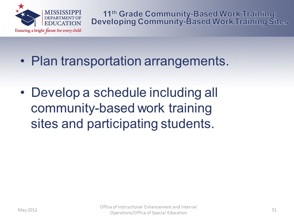 Plan transportation arrangements. Develop a schedule including all community-based work training sites and participating students. May 2012 Office of