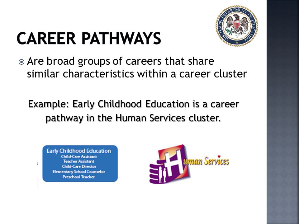  Are broad groups of careers that share similar characteristics within a career cluster Example: Early Childhood Education is a career pathway in the Human Services cluster.