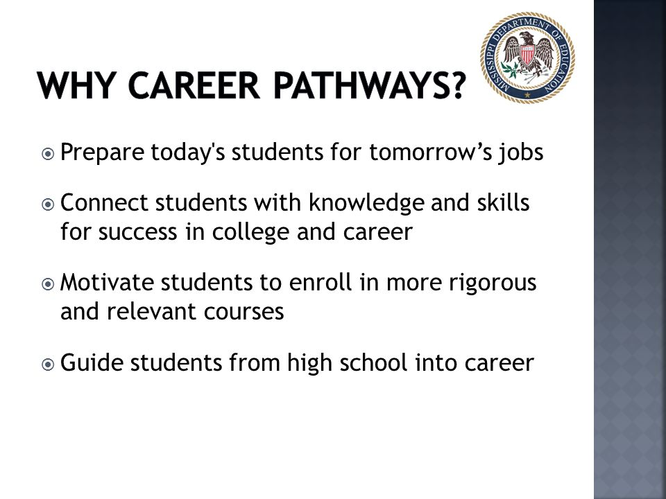  Prepare today s students for tomorrow's jobs  Connect students with knowledge and skills for success in college and career  Motivate students to enroll in more rigorous and relevant courses  Guide students from high school into career