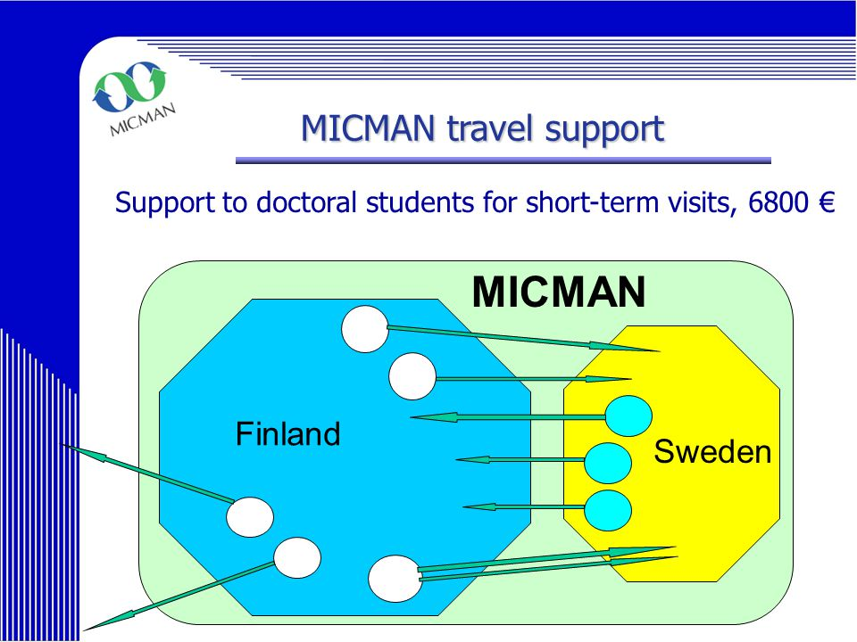 MICMAN Final Symposium 2006 MICMAN travel support Support to doctoral students for short-term visits, 6800 € MICMAN Finland Sweden