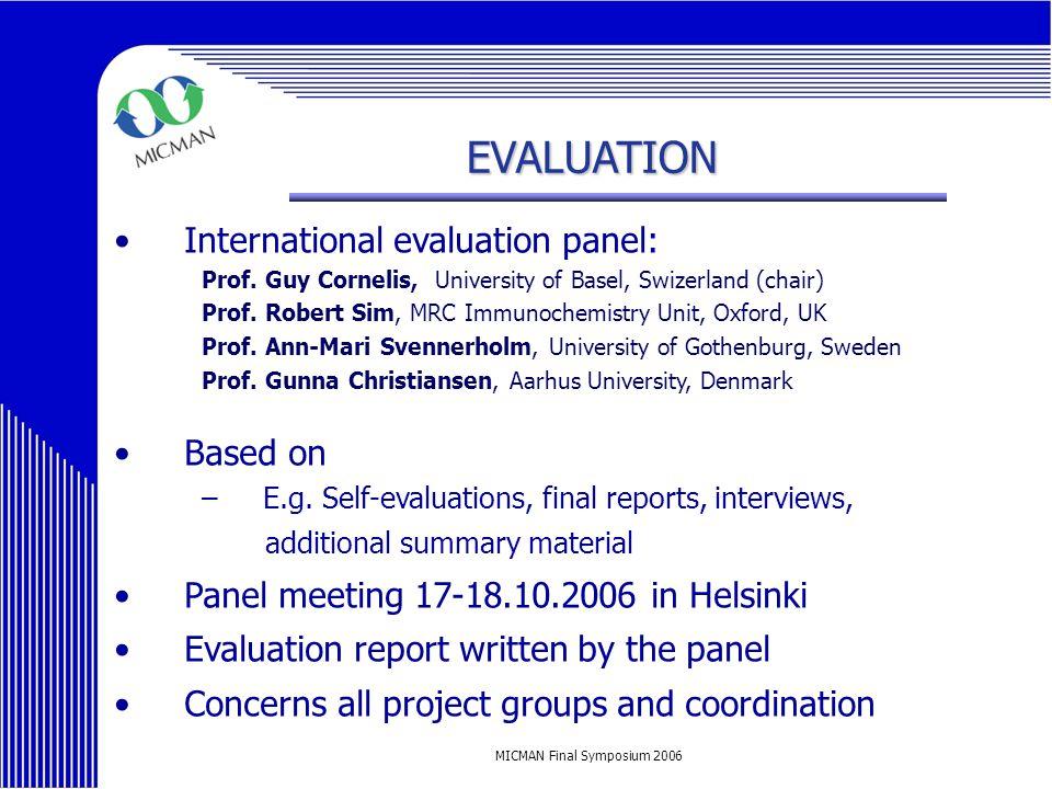 MICMAN Final Symposium 2006 EVALUATION International evaluation panel: Prof.