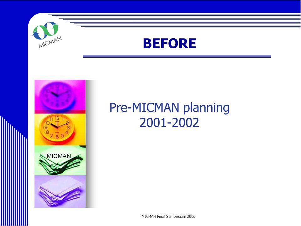 MICMAN Final Symposium 2006 BEFORE Pre-MICMAN planning 2001-2002 MICMAN
