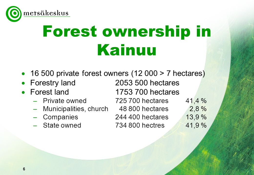 6 Forest ownership in Kainuu  16 500 private forest owners (12 000 > 7 hectares)  Forestry land 2053 500 hectares  Forest land 1753 700 hectares –Private owned 725 700 hectares41,4 % –Municipalities, church 48 800 hectares 2,8 % –Companies244 400 hectares13,9 % –State owned 734 800 hectres41,9 %