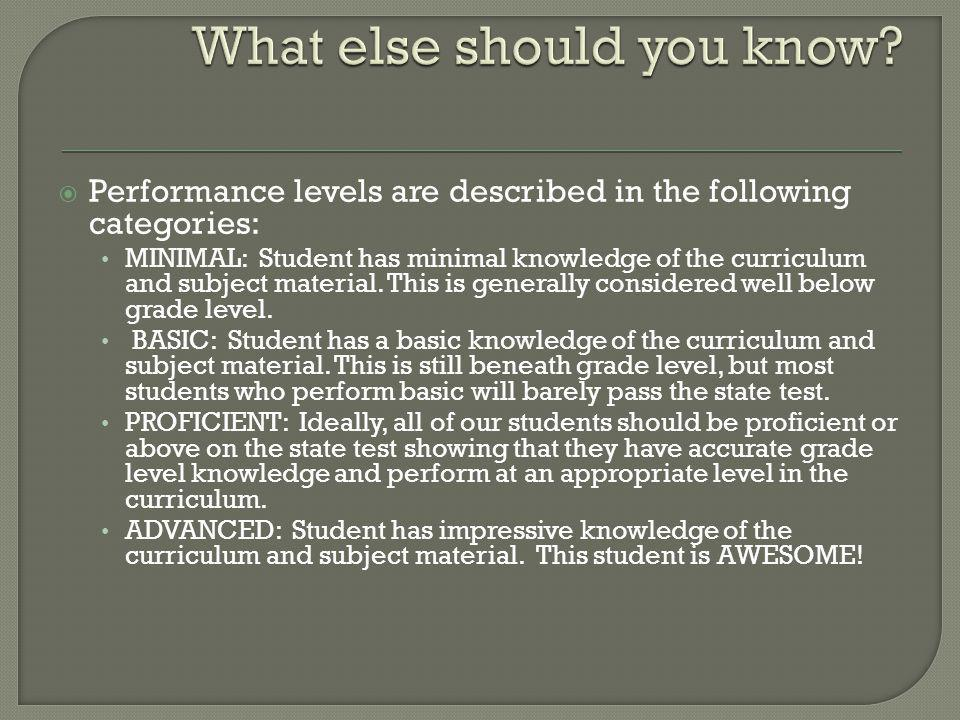  Performance levels are described in the following categories: MINIMAL: Student has minimal knowledge of the curriculum and subject material.