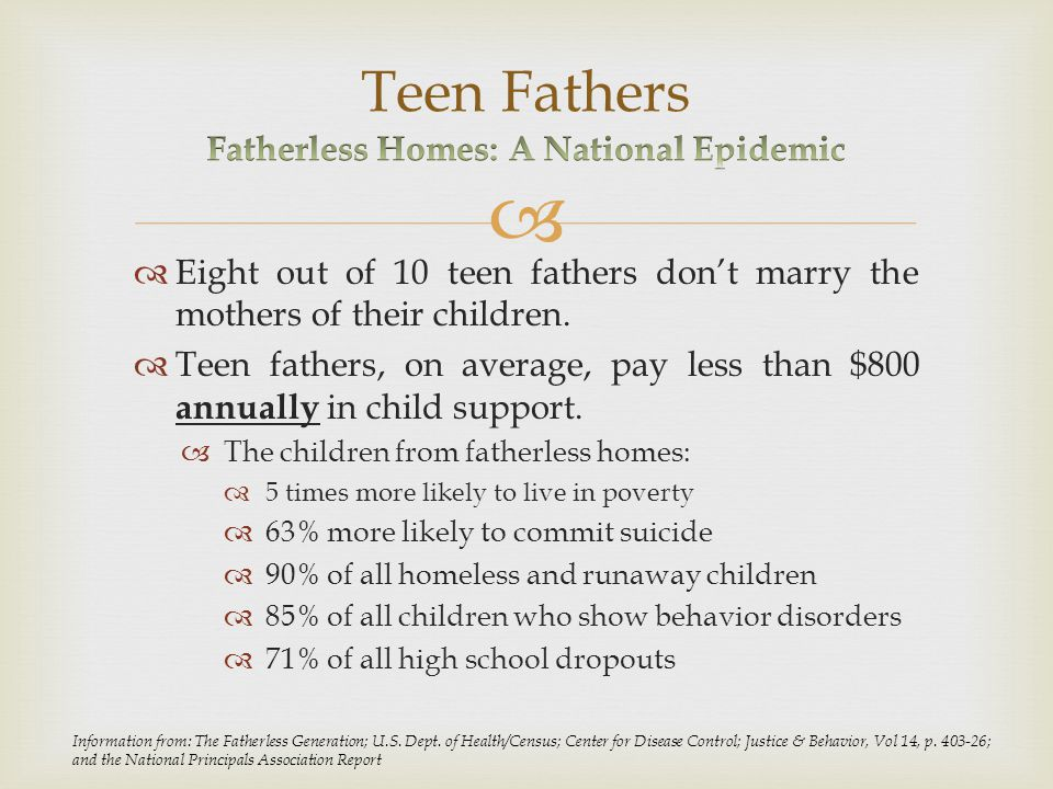   Eight out of 10 teen fathers don't marry the mothers of their children.