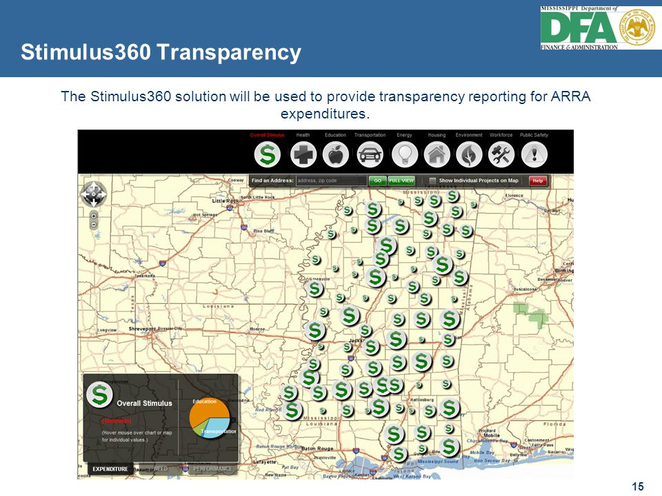 15 Stimulus360 Transparency 15 The Stimulus360 solution will be used to provide transparency reporting for ARRA expenditures.