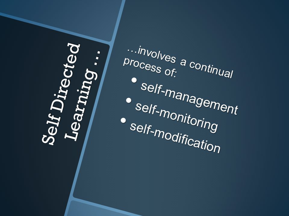 Self Directed Learning … …involves a continual process of: self-management self-management self-monitoring self-monitoring self-modification self-modification