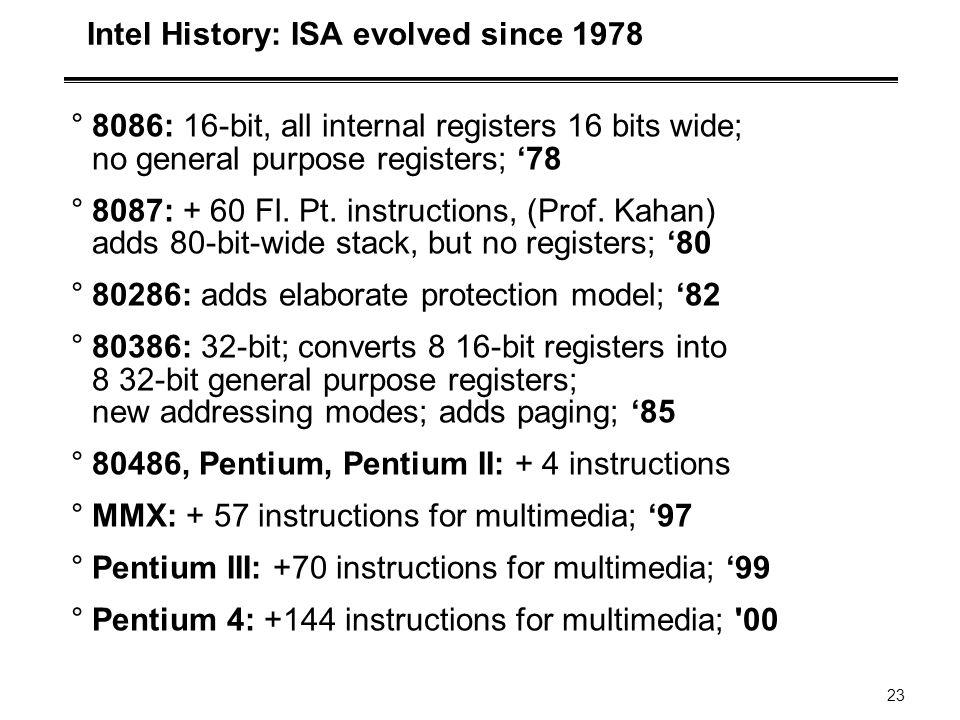 23 Intel History: ISA evolved since 1978 °8086: 16-bit, all internal registers 16 bits wide; no general purpose registers; '78 °8087: + 60 Fl. Pt. ins