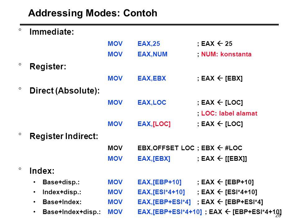 28 Addressing Modes: Contoh °Immediate: MOVEAX,25; EAX  25 MOVEAX,NUM; NUM: konstanta °Register: MOVEAX,EBX; EAX  [EBX] °Direct (Absolute): MOVEAX,L
