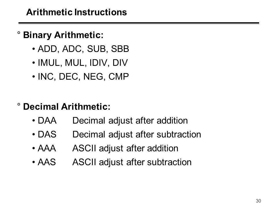 30 Arithmetic Instructions °Binary Arithmetic: ADD, ADC, SUB, SBB IMUL, MUL, IDIV, DIV INC, DEC, NEG, CMP °Decimal Arithmetic: DAA Decimal adjust afte