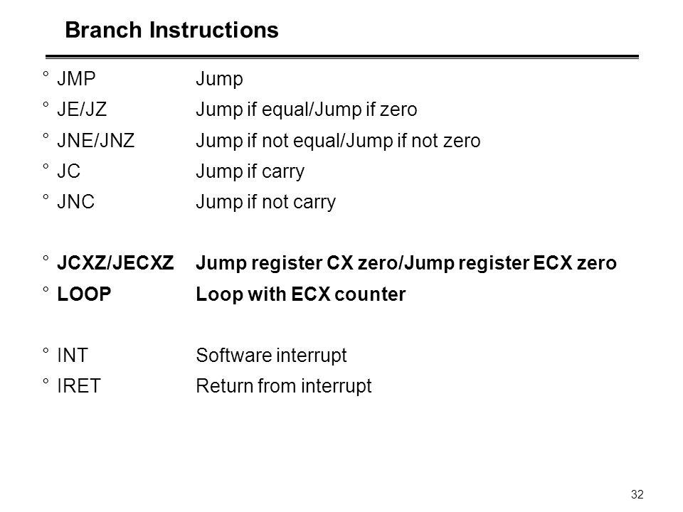 32 Branch Instructions °JMP Jump °JE/JZ Jump if equal/Jump if zero °JNE/JNZ Jump if not equal/Jump if not zero °JC Jump if carry °JNC Jump if not carr