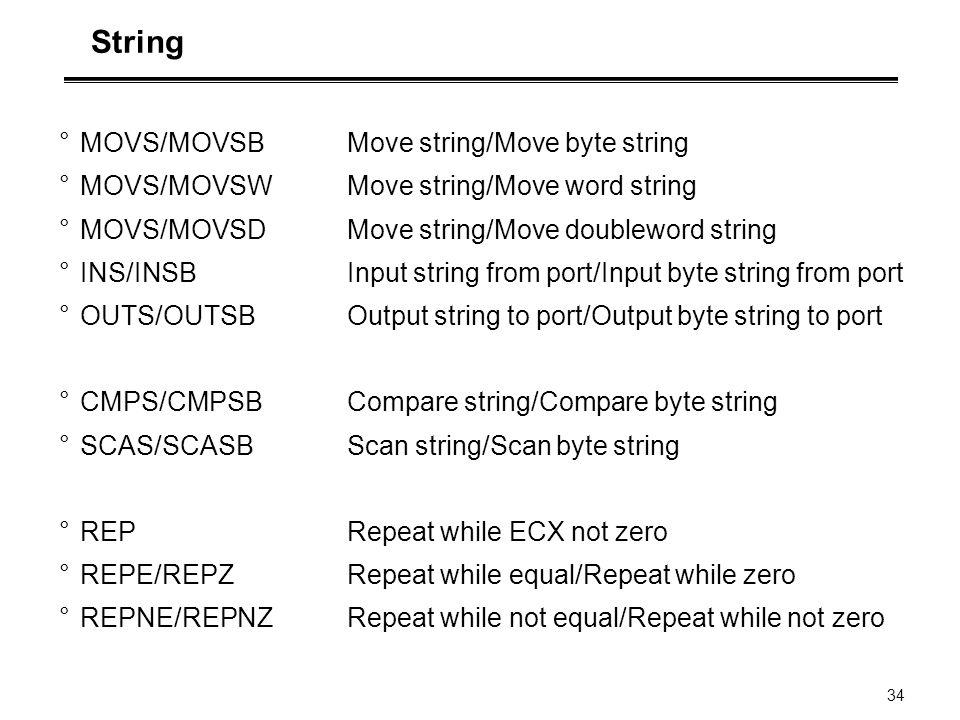 34 String °MOVS/MOVSB Move string/Move byte string °MOVS/MOVSW Move string/Move word string °MOVS/MOVSD Move string/Move doubleword string °INS/INSB I