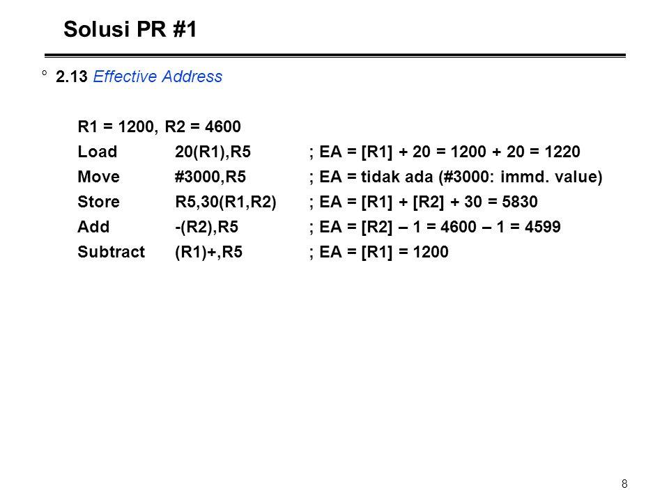 8 Solusi PR #1 °2.13 Effective Address R1 = 1200, R2 = 4600 Load20(R1),R5; EA = [R1] + 20 = 1200 + 20 = 1220 Move#3000,R5; EA = tidak ada (#3000: immd