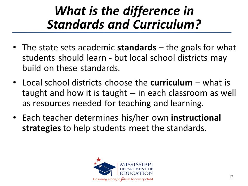 The state sets academic standards – the goals for what students should learn - but local school districts may build on these standards. Local school d