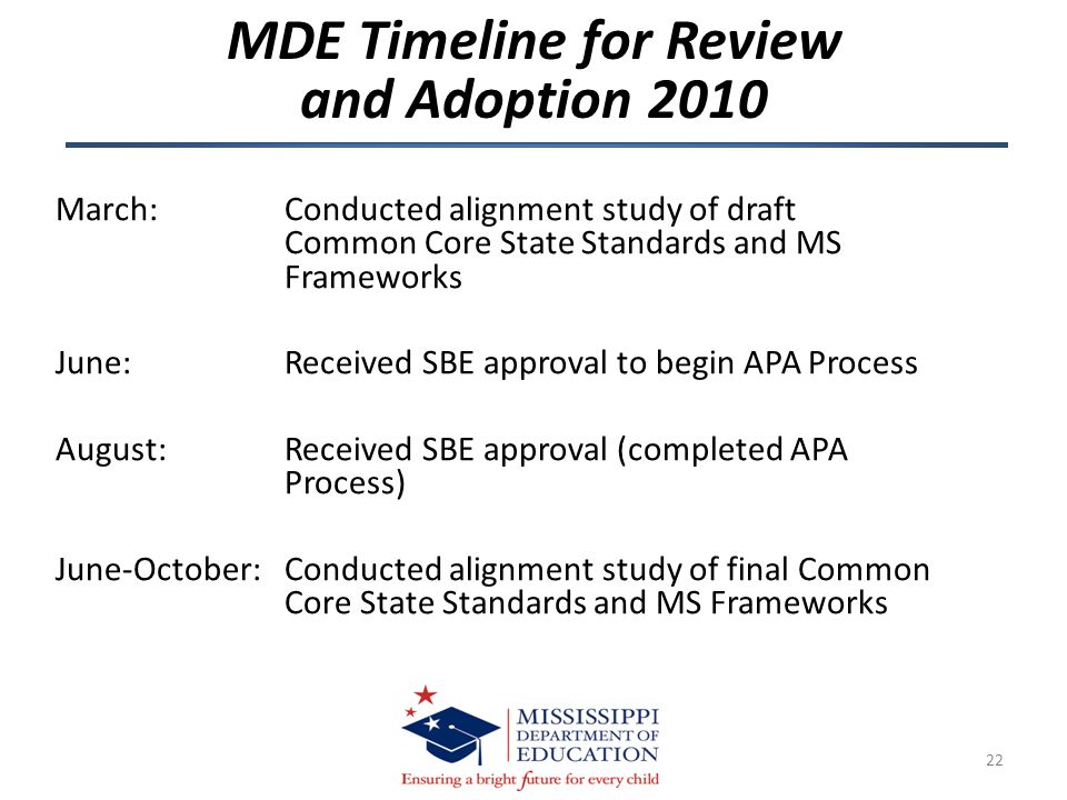 March: Conducted alignment study of draft Common Core State Standards and MS Frameworks June: Received SBE approval to begin APA Process August: Recei