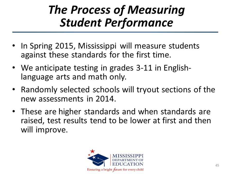 In Spring 2015, Mississippi will measure students against these standards for the first time. We anticipate testing in grades 3-11 in English- languag