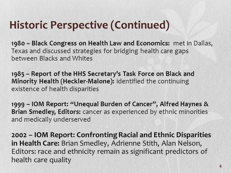 National Attention on Health Disparities
