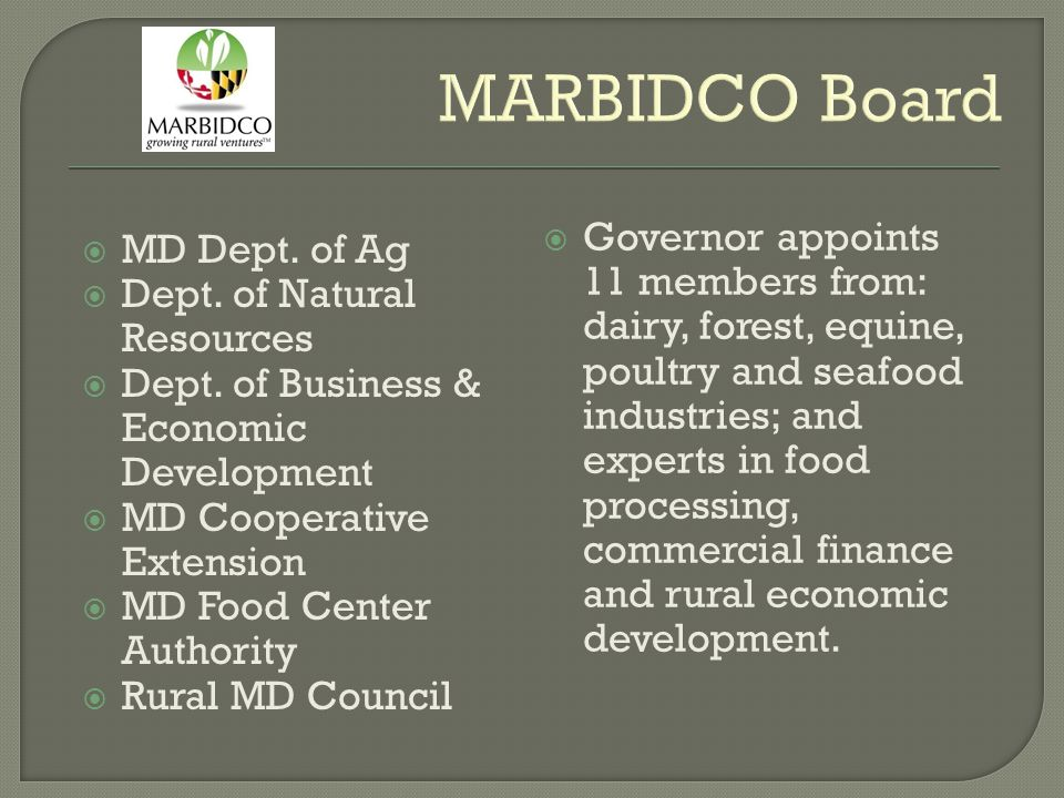 MARBIDCO Board  MD Dept. of Ag  Dept. of Natural Resources  Dept. of Business & Economic Development  MD Cooperative Extension  MD Food Center Au