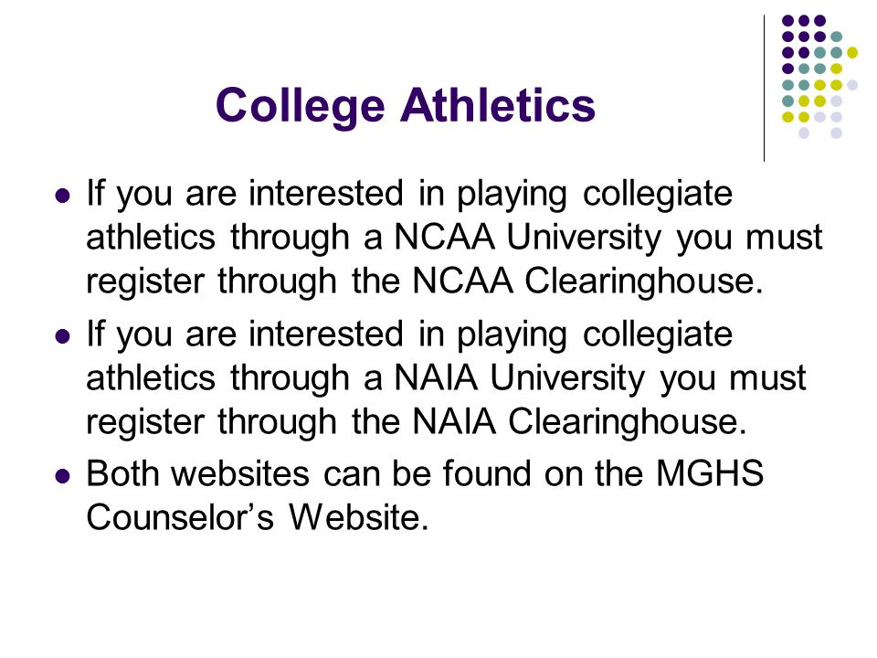 College Athletics If you are interested in playing collegiate athletics through a NCAA University you must register through the NCAA Clearinghouse.