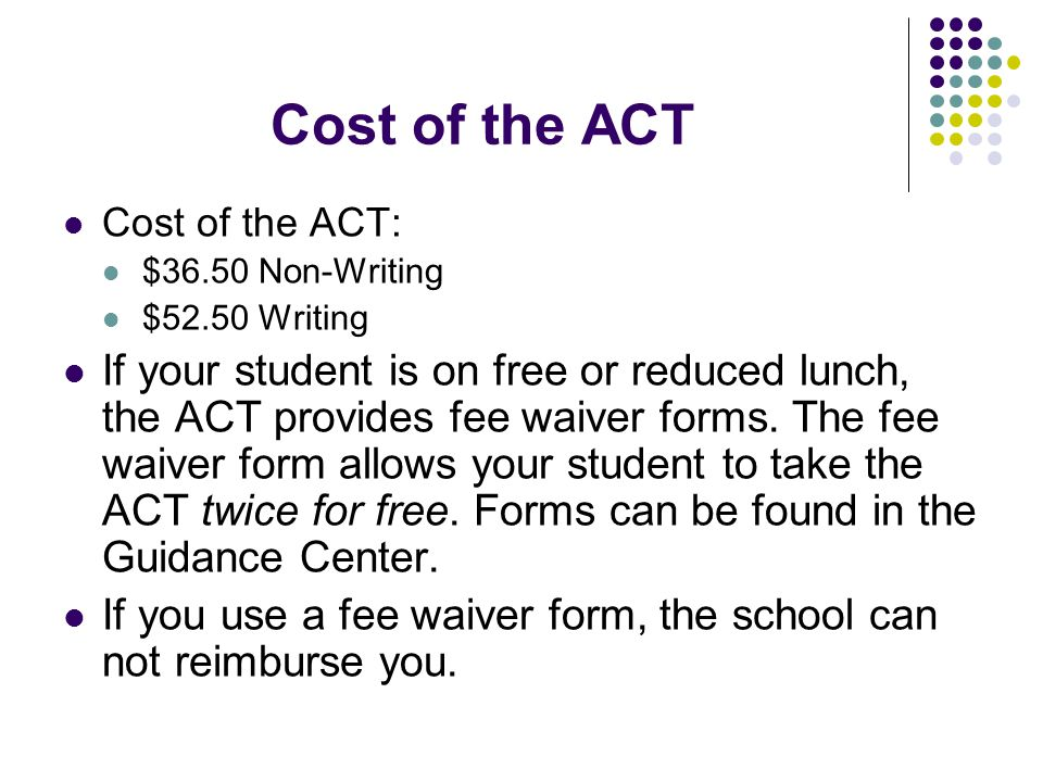 Cost of the ACT Cost of the ACT: $36.50 Non-Writing $52.50 Writing If your student is on free or reduced lunch, the ACT provides fee waiver forms.