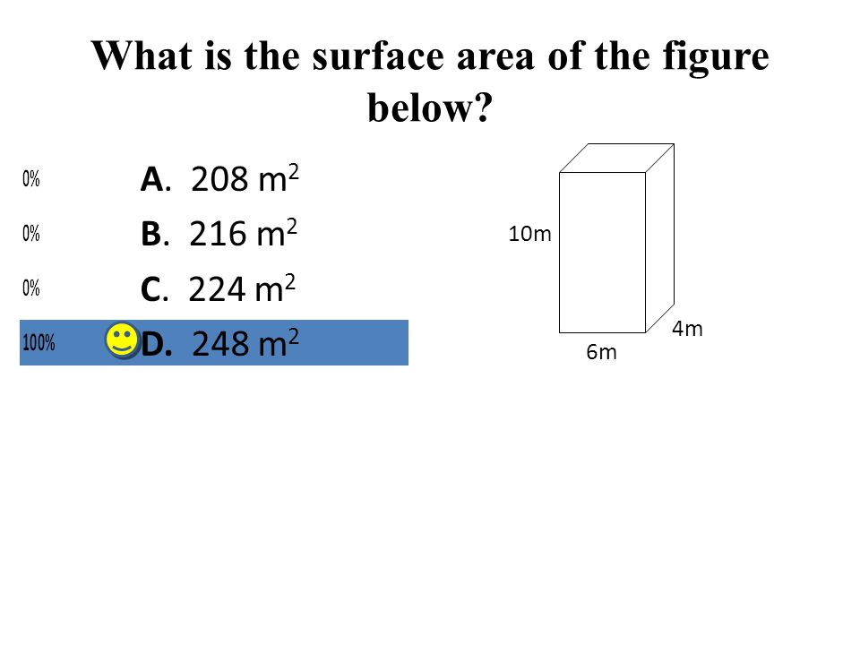 What is the surface area of the figure below? 4m 6m 10m A. 208 m 2 B. 216 m 2 C. 224 m 2 D. 248 m 2