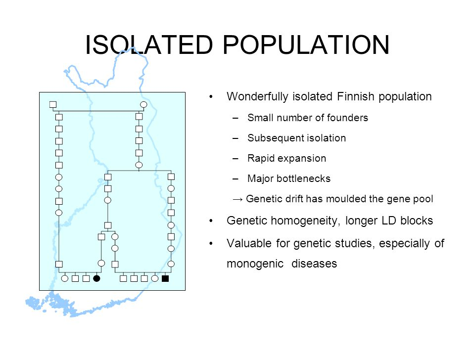 ISOLATED POPULATION Wonderfully isolated Finnish population –Small number of founders –Subsequent isolation –Rapid expansion –Major bottlenecks → Genetic drift has moulded the gene pool Genetic homogeneity, longer LD blocks Valuable for genetic studies, especially of monogenic diseases